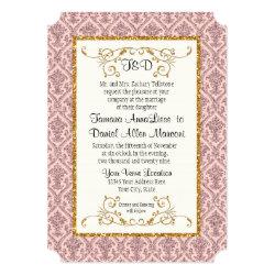 Faux Blush Gold Glitter Damask Ticket Style Invite 5