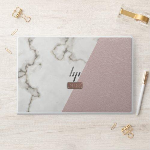 Faux Blush Leather Marble Rose Gold Monogram HP Laptop Skin