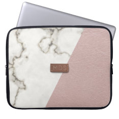 Faux Blush Pink Leather Marble Laptop Sleeve at Zazzle