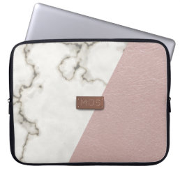 Faux blush pink leather marble Laptop Sleeve