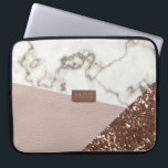 "Faux Blush Rose Gold Glitter Marble Laptop Sleeve<br><div class=""desc"">If you like modern marble, rose gold glitter and blush pink leather effects - you have found your next laptop sleeve. All fabulously faux and a printed effect. Nothing was harmed in the making of this case. And you won&#39;t suffer GFS (glittery finger syndrome) Add your initials to the metallic...</div>"