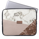 Faux Blush Rose Gold Glitter Marble Laptop Sleeve<br><div class='desc'>If you like modern marble, rose gold glitter and blush pink leather effects - you have found your next laptop sleeve. All fabulously faux and a printed effect. Nothing was harmed in the making of this case. And you won&#39;t suffer GFS (glittery finger syndrome) Add your initials to the metallic...</div>