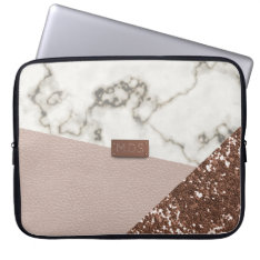 Faux Blush Rose Gold Glitter Marble Laptop Sleeve at Zazzle
