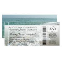 Faux Boarding Pass Beach Wedding Ticket Invitation