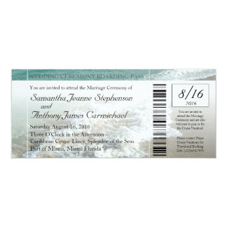 Faux Boarding Pass Beach Wedding Ticket Invitation