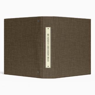 Faux Bookcloth Linen Vintage Label Binder, Brown 3 Ring Binders