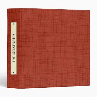 Faux Bookcloth Linen Vintage Label Binder, Red Binder