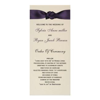 FAUX bow amethyst program and Wedding menu Custom Rack Card