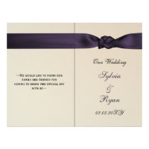 FAUX bow amethyst purple wedding programs