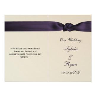FAUX bow amethyst purple wedding programs