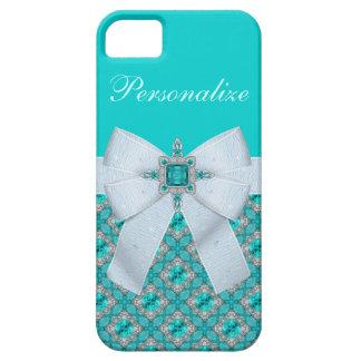 Faux Bow & Aquamarine & Silver Jewels iPhone 5 Case