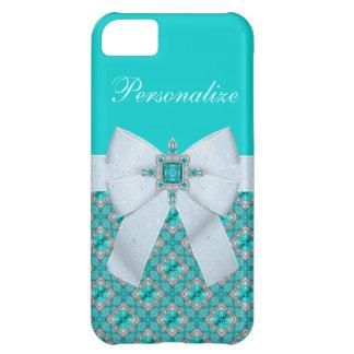 Faux Bow & Aquamarine & Silver Jewels iPhone 5C Cases
