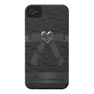 Faux Bow Jewel Heart Black iPhone 4 Case