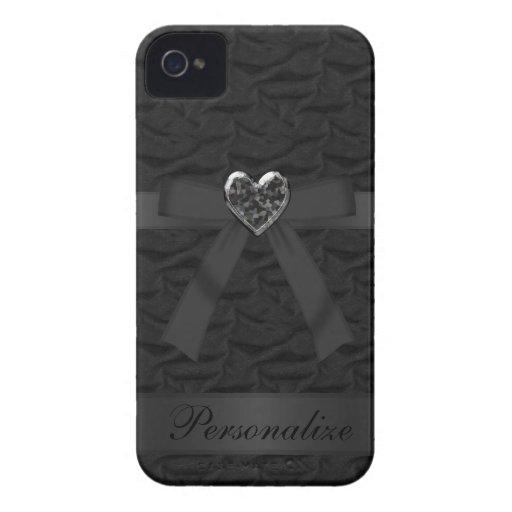 Faux Bow & Jewel Heart Black iPhone 4 Case