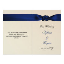 FAUX bow navy blue wedding programs