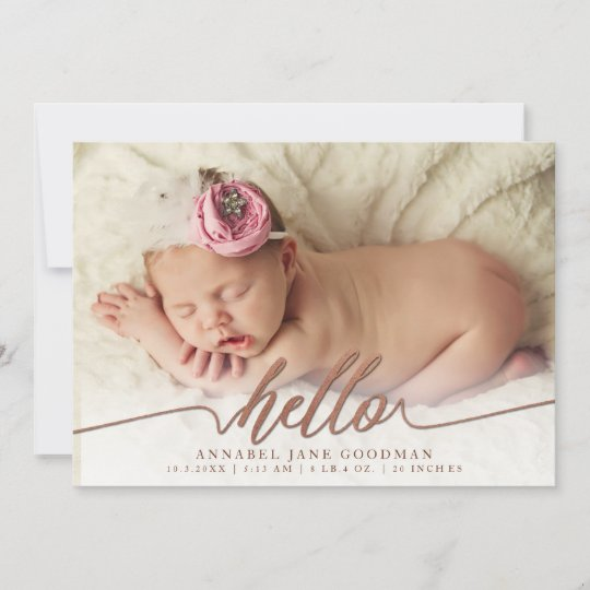 Faux Bronze Baby Birth Announcement Photo Cards