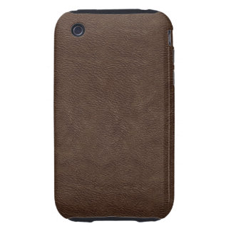 Faux Brown Leather Tough iPhone 3 Cover