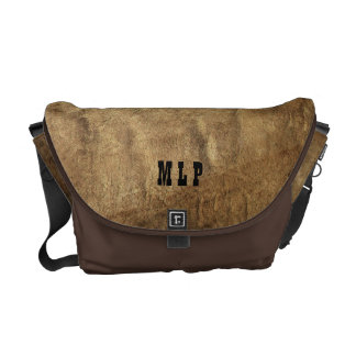 Faux Brown Leather Messenger Bag