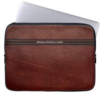 Faux Brown Leather  Sleeve - Customize Laptop Computer Sleeve