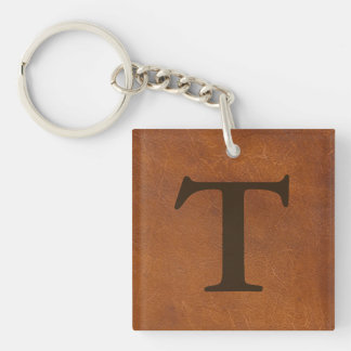 Faux Brown Leather Texture Keychain