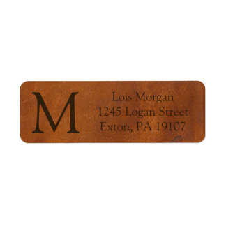 Faux Brown Leather Texture Label