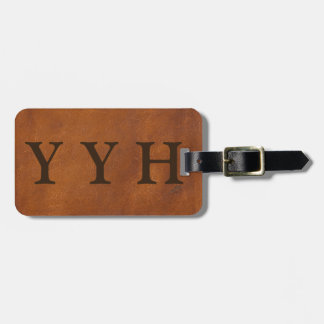 Faux Brown Leather Texture Luggage Tag