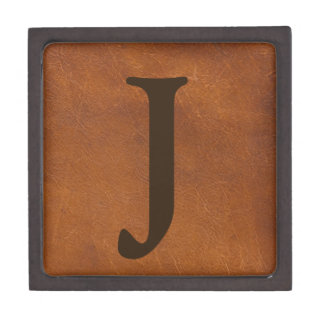 Faux Brown Leather Texture Premium Keepsake Boxes