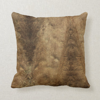 Faux Brown Leather Throw Pillow