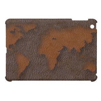 Faux Brown Leather World Map iPad Mini Case Cover