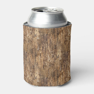 Faux Brown Tree Bark Texture Look Pattern Can Cooler