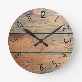 Faux Brown Wooden Paneling Round Clock