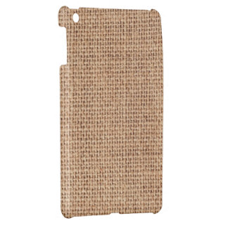 Faux brown woven rag (canvas) texture. Beige bag. Case For The iPad Mini