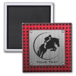 Faux Brushed Aluminum Equestrian. 2 Inch Square Magnet