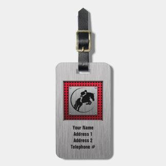 Faux Brushed Aluminum Equestrian. Bag Tag