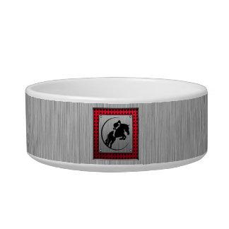 Faux Brushed Aluminum Equestrian. Cat Food Bowl