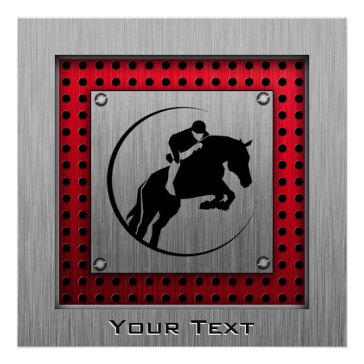 Faux Brushed Aluminum Equestrian. Poster