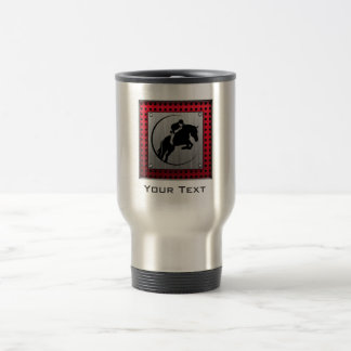 Faux Brushed Aluminum Equestrian. Travel Mug
