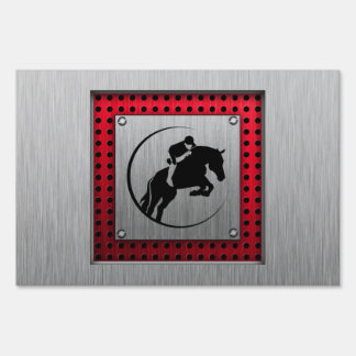Faux Brushed Aluminum Equestrian. Lawn Sign