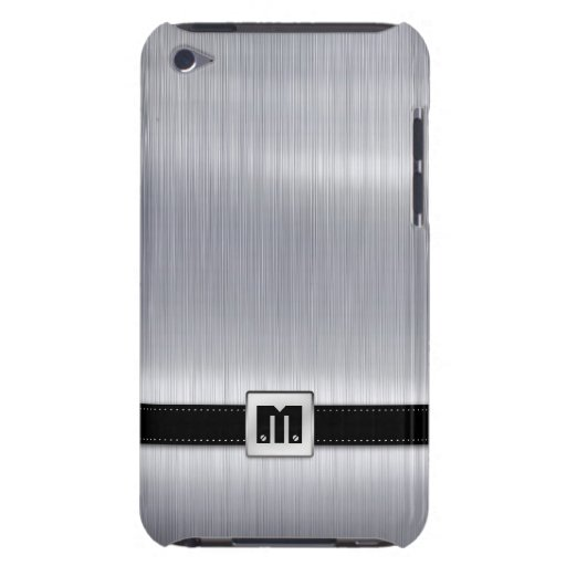Faux Brushed Aluminum with custom monogram iPod Case-Mate Case