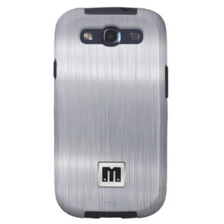 Faux Brushed Aluminum with custom monogram Samsung Galaxy SIII Cover