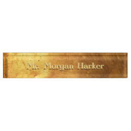 Faux Brushed Gold Engraved Nameplate
