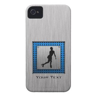 Faux Brushed Metal; Figure Skating iPhone 4 Case