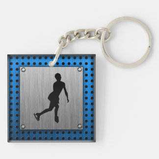 Faux Brushed Metal; Figure Skating Keychain