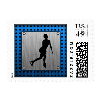 Faux Brushed Metal; Figure Skating Postage Stamp