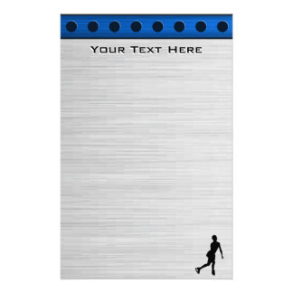Faux Brushed Metal; Figure Skating Personalized Stationery
