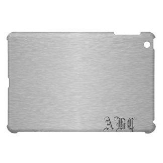 Faux Brushed Metal Monogram iPad Mini Cover