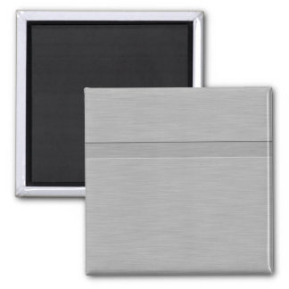 Faux Brushed Metal with Groove 2 Inch Square Magnet