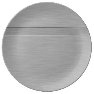Faux Brushed Metal with Groove Porcelain Plate