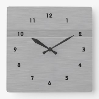Faux Brushed Metal with Groove Square Wall Clock