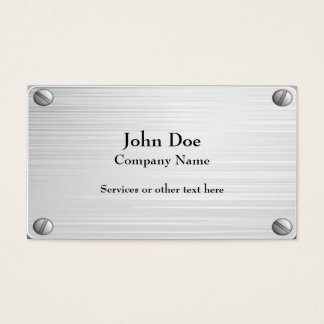 Faux Brushed Metal With Screws Business Card